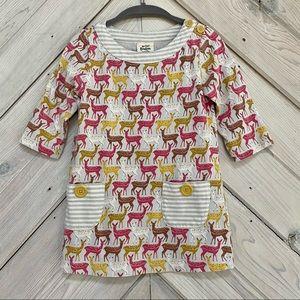 Mini Boden Deer Print Tunic Dress With Pockets